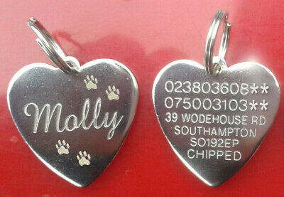 Engraved Pet Heart Paw Tags Name ID Disc Dog Cat for Collar Silver Tag