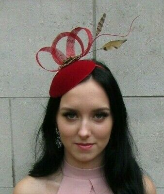Red Bronze Brown Velvet Pheasant Feather Hat Fascinator Hair Races Wedding 7504