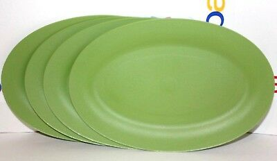 Tupperware Plates Chic Dining Set of 4 Oval Green Dessert Lunch Dinner Dishes