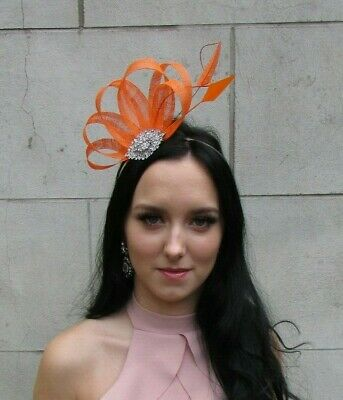 Orange Silver Sinamay Feather Hair Fascinator Races Wedding Ladies Day Hat 7516