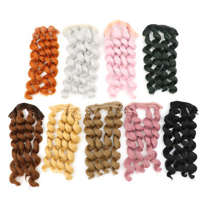 15cm x 100cmnatural color curly doll wigs hair DIY for 1/3 1/4 ^F-JT
