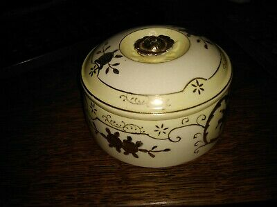 powder/vanity jar with lid, white/yellow/gold, japan