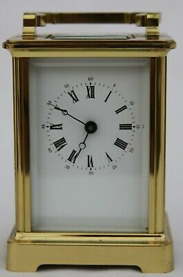 Beautiful antique/vintage brass carriage clock by Fema in brown carry case