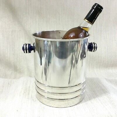 Large Silver Plated Wine Cooler Champagne Bucket Vintage French Art Deco