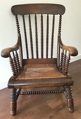 Antique 19th Century, Mahogany, Bobbin Armchair With Bergere Seat.