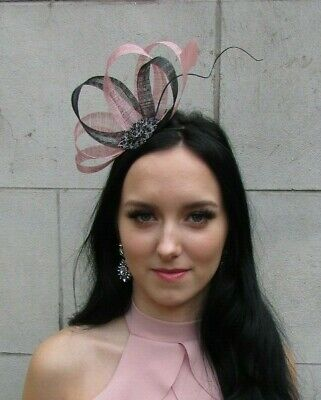 Black Dusky Blush Pink Sinamay Feather Hair Fascinator Races Wedding Piece 7521