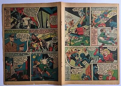 Original 1941 #4 Captain America Timely Comics Pages, Golden Age