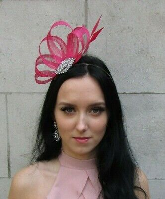 Cerise Hot Pink Silver Sinamay Feather Hair Fascinator Ladies Day Wedding 7535