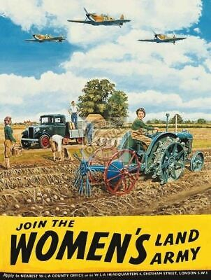 Join the Woman's Land Army. WW2 Women Help Farm-Par Metal/Steel Wall Sign
