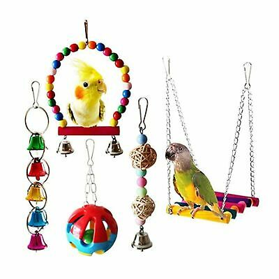 5pc Bird Rope Swing Climb Bell Toy Games Puzzle for Budgie Cockatiel Cage Bird