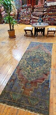 "Exquisite Natural Dye Antique Cr1930-1939s Wool Pile 2'8""×8'3"" Runner Oushak Rug"