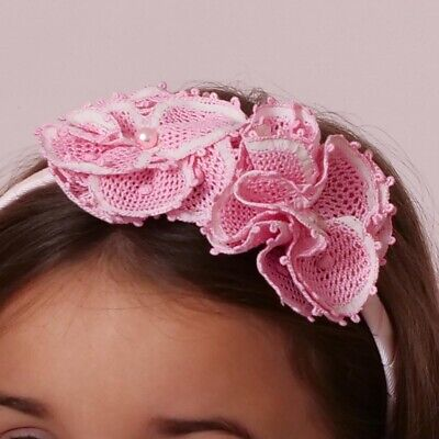 Handmade Lace Baby Girls Kids Flower Girl Headband Cotton Covered, Two Flowers