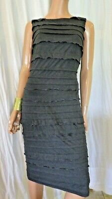Nwt Rm Richards Size 12 Gray Ruffle Shutter Pleat Stretch Knit Dress Bust 38
