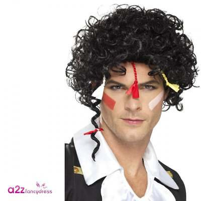 Black 80s Disco Curly Permed Afro Wig Adults Fancy Dress Costume Accessory