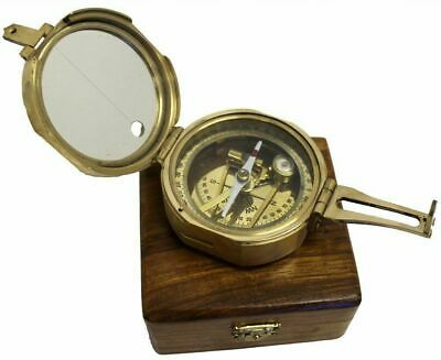 "Nautical Brass 3"" Brunton  Maritime Compass With Wooden Box"