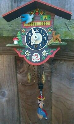 Vintage Miniature German Chalet Cuckoo Clock With Lady On Swing