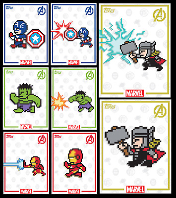 Topps Marvel Collect Card Trader 8-Bit Avengers [Complete Set 8 Cards]