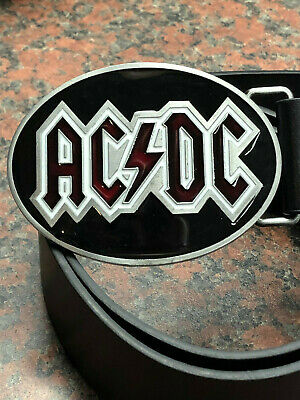 ACDC logo BUCKLE + FREE Belt heavy metal rock band Oval western thunderstruck