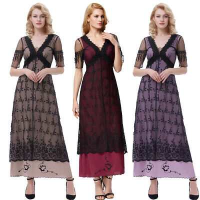 Fashion Dress Cocktail S-xl Victorian Retro Vintage Lace Party V-neck Long Gowns