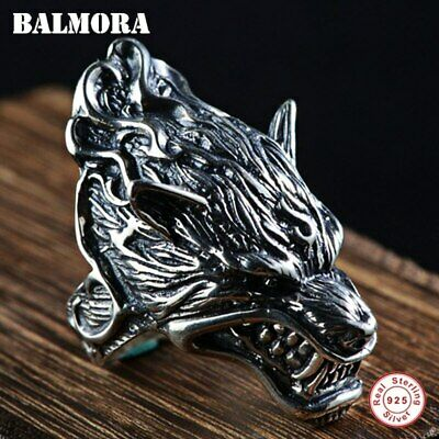 Ring For Men 925 Sterling Silver Wolf Head Animal Punk Biker