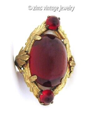 Vintage old ART DECO Brass floral Ruby RED glass cabochon Cocktail RING size 6