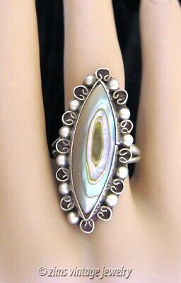 Vintage old MEXICAN Taxco Sterling silver ABALONE sea Shell long RING size 6.5