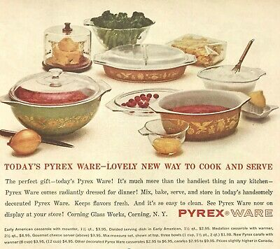 Pyrex Ware Magazine Print Ad Vintage 1962 Cooking Baking Kitchen Household Home