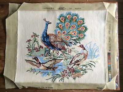 French Completed Le Paon De La Salle Peacock Ducks Rococo Needlepoint Tapestry