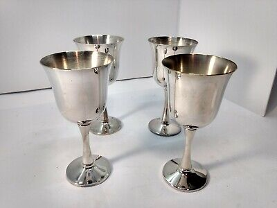 SALEM Silverplate Vintage Set of 4 Wine Glasses Chalice Goblets CELEBRATE