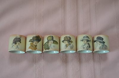 Art Deco 1920S' Painted Porcelain Napkin Rings Depicting 6 Flapper Girls/Lady