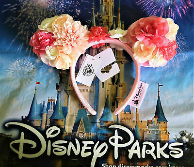 Disney Parks Minnie Mouse Ears Peach & Pink Floral 2019 Flower Headband In Hand