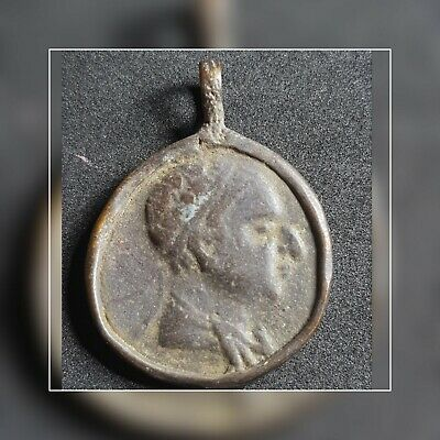 Indo greek very nice old antique bronze coin pendant