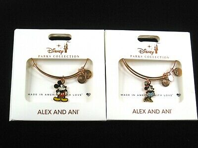 Alex and Ani Disney Parks 2 Bracelet SET Classic Mickey Mouse & Minnie Rose Gold
