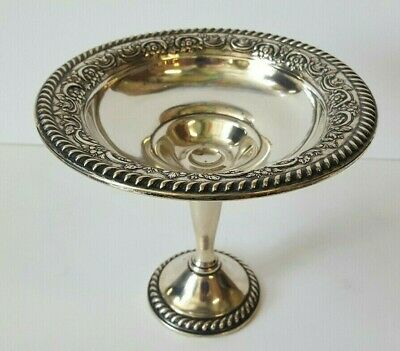Antique International Sterling Silver Compote Pedestal Candy Dish Repousse T211