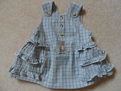 Adorable Vintage 90's Baby Girl Cotton Peter Rabbit Pinafore Dress  3 - 6 m