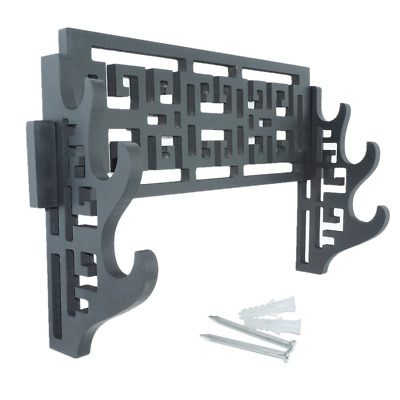 3-Tier Sword Holder Wall Mount Samurai Sword Display Stand Hollow Out Pattern