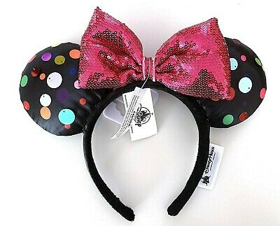 Disney Parks Mickey Minnie Mouse Pink Sequin Bow Rock the Dots Ears Headband
