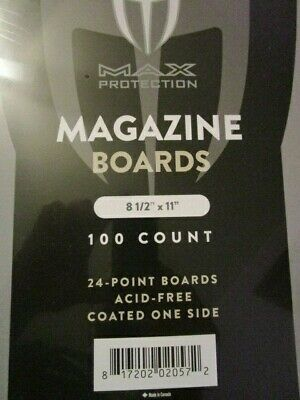 "Pack / 100 Max Pro Magazine Size ACID FREE Backing Boards 8 1/2"" x 11"""