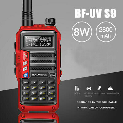 BaoFeng UV-S9 Powerful 8W Walkie Talkie Dual Band Long Range Two Way Radio Red
