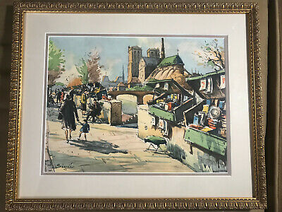 """Vintage 1952 """"Paris Street Scene"""" Watercolor Painting - Signed And Framed"""