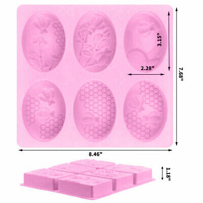 Bee Pattern Silicone Soap Mold Craft Molds Handmade 6 Cavity Soap Mould DIY AU