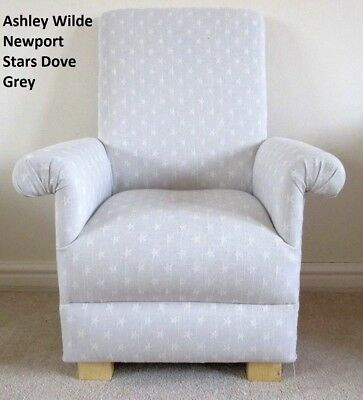 Childrens Chair Grey Armchair Kids Newport Stars Fabric Child's Small Nursery