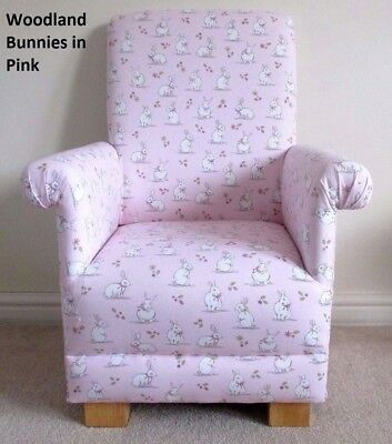 Children's Chair Pink Armchair Woodland Bunnies Fabric Rabbits Girls Animals New