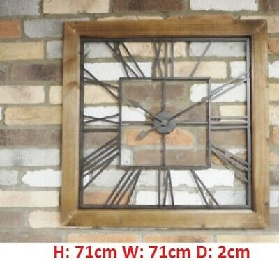 Clock Large 71cm Square Wood/Metal Industrial Skeleton Time Home Office Wall