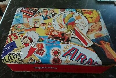 Arnott's -2003 History Of Arnott's - Retro Hinged Biscuit Tin -Nice Collectable