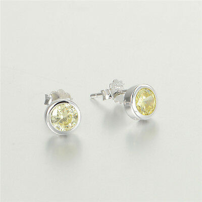 ROUND CIRCLE golden earrings ladies girls genuine 925 sterling silver studs