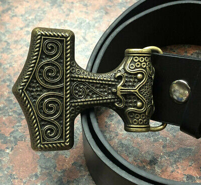 THOR'S HAMMER BUCKLE + FREE Belt design MJOLNIR gothic detailed large gold NEW