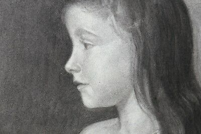 Portrait of Little Girl Charcoal August 1902 or 1907 Brand of Paper Filigree