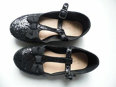 Primark Girls Black Sequinned Party Shoes With Bow UK 11 / EU 29 - FREE POST