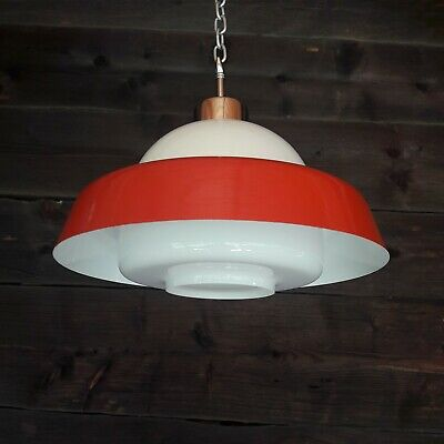 Mid Century Czech Hanging Ceiling Pendant Light Red Ufo & Opaline Glass